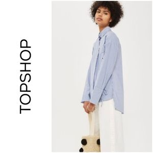 Topshop striped shirt with lace up sides